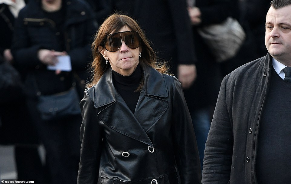 Carine Roitfeld, the former editor-in-chief of Vogue Paris, was also in attendance at the ceremony today. She previously said of Lagerfeld: 'Karl was my rock. He's always been there for me, through years of friendship and creation'