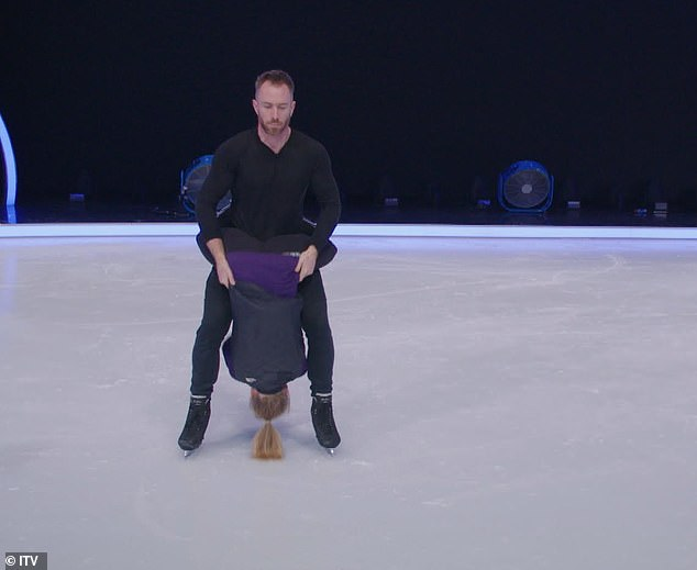 Tricky: Pictures released by ITV show James holding Alexandra upside down between his legs for the move before he slipped, falling on top of her