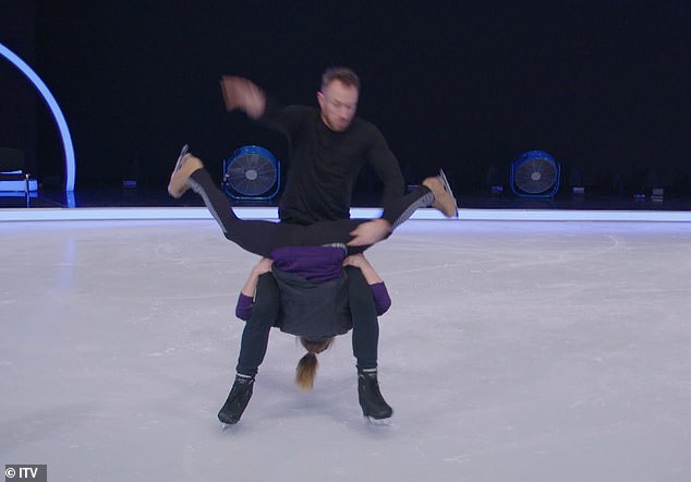 Slip and fall: The images show James losing his footing and falling over, taking Alexandra down with him