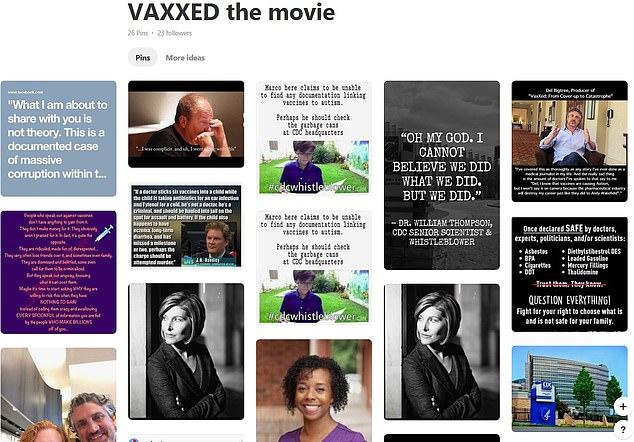 """Als DailyMail.com """"Vaxx"""" eintippte, empfahl Pinterest dieses Board, das dem Film """"VAXXED the movie"""" gewidmet war. Der Film wurde von dem schändlichen Anti-Vaxxer-Wissenschaftler Andrew Wakefield erstellt"""