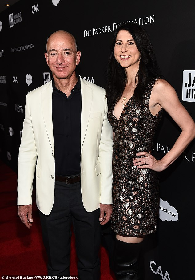 Jeff and MacKenzie Bezos pictured at Sean Penn's JP HRO Gala, Arrivals, Los Angeles, on January 6