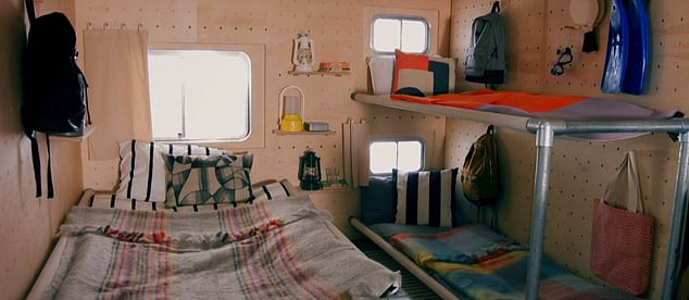 The expandable room has space to fit four people in a double and bunk beds - perfect for the whole family. But some viewers were concerned a leaky roof would cause problems if it were to rain