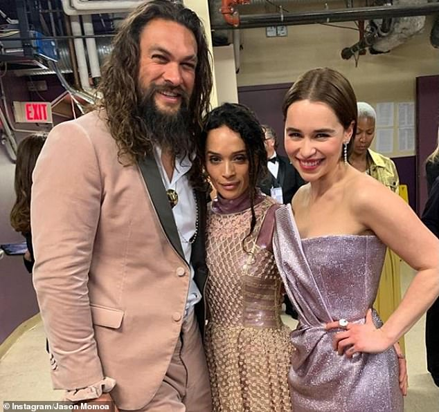 'So proud': Grinning from ear-to-ear, Aquaman actor Jason gushed over the brunette's success in the industry (also joined by his wife Lisa Bonet)