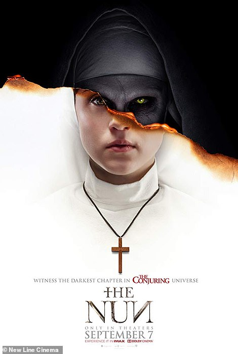 Stepping in: Maxine replaces actressTaissa Farmiga on the poster for The Nun, which was changed to The Corgi