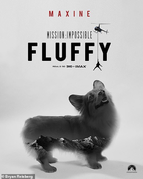 Who needs Tom Cruise? The pup has her eyes on a helicopter on her Mission: Impossible Fluffy poster