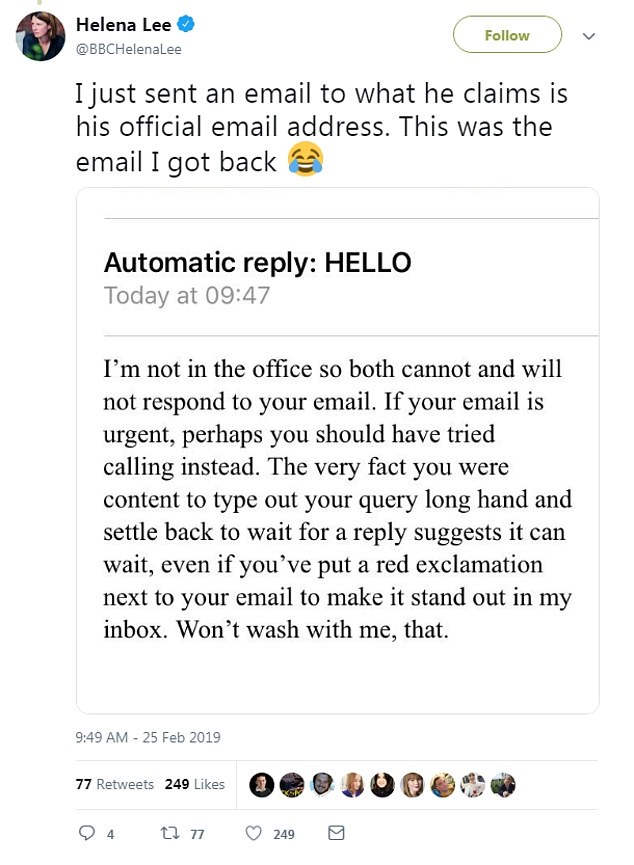 A screenshot of the email was tweeted by several BBC staff, including Jeremy Vine show producer Tim Johns. And savvy staff who replied to the email got a cheeky out of office response