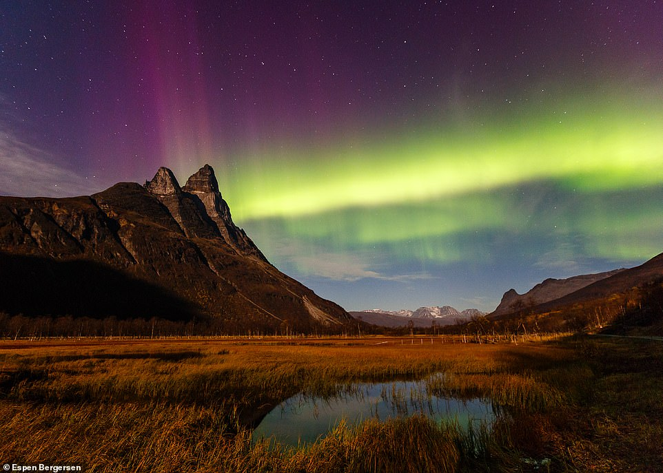 Espen says Otertind mountain, located in Troms, is a popular place to photograph the aurora, with the sweeping landscape being an extra bonus