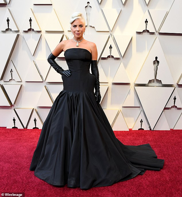 Her big night: Gaga on the carpet for the Oscars, where she won for Shallows