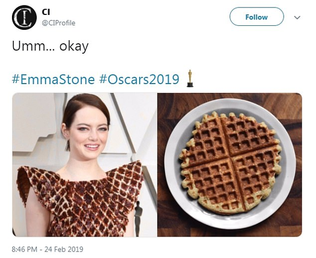 With butter! Many thought her dress looked a lot like a waffle