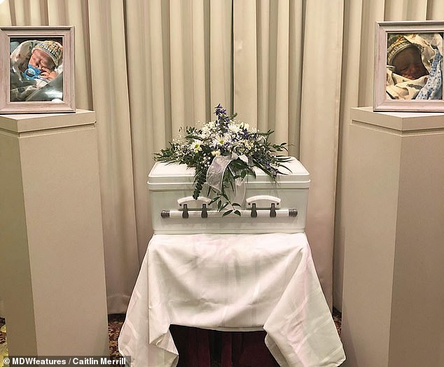Despite the heartbreak of losing their first child, Caitlin and Tony found out they were expecting again less than a year later, this time a healthy daughter. Pictured: Thaxton's casket at his funeral