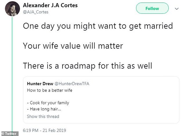 Shared views:Alexander went on to share Twitter user Hunter Drew's equality sexist tips on 'how to be a better wife'