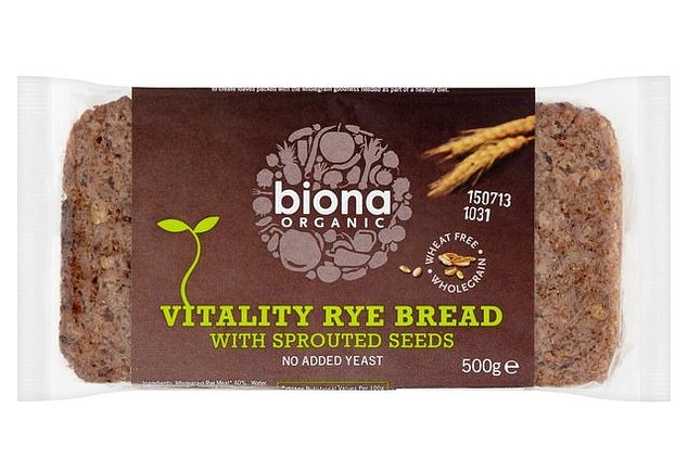 Rye bread with sprouted mung and aduki beans, alfalfa, linseed and quinoa. Wheat/yeast free.