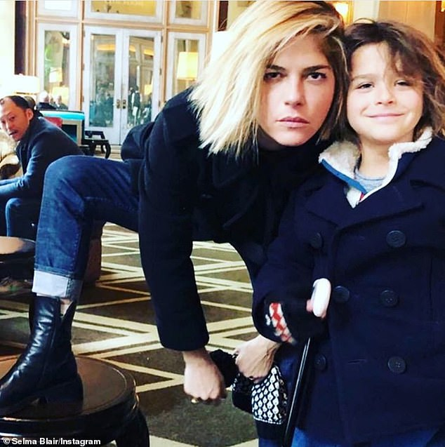 Mother and son: Selma, who dedicated a tree to her seven-year-old son, Arthur, asked her friends Sarah Michelle Gellar and Kris Jenner to do the same