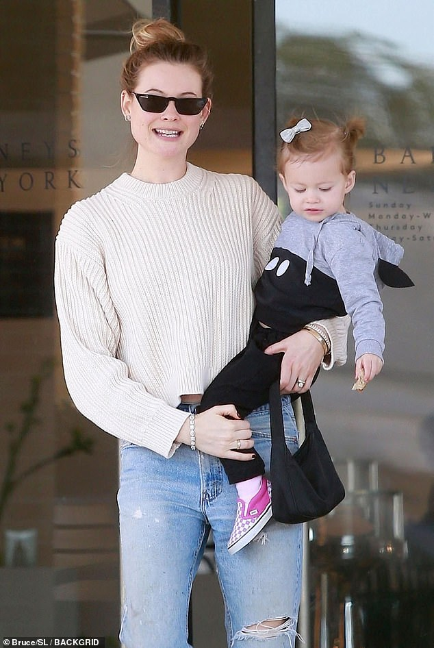 Mother-daughter time: Behati Prinsloo was back to being a doting mom on Monday, following her big night at the Vanity Fair Oscars after party on Sunday night