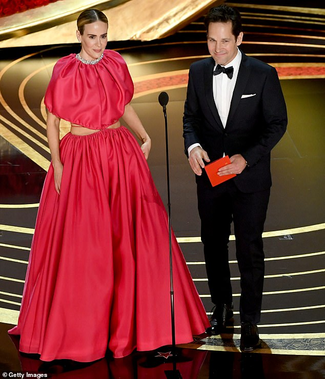 Teamwork: Rudd took the stage with Sarah Paulson on Sunday evening to present the Academy Award for Best Visual Effects