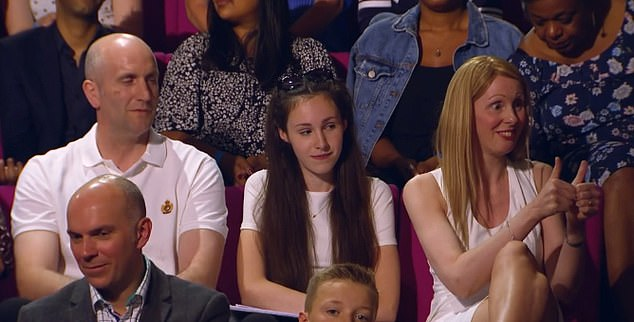The unnamed daughter looked uncomfortable throughout the programme, while her parents exalted their genius son