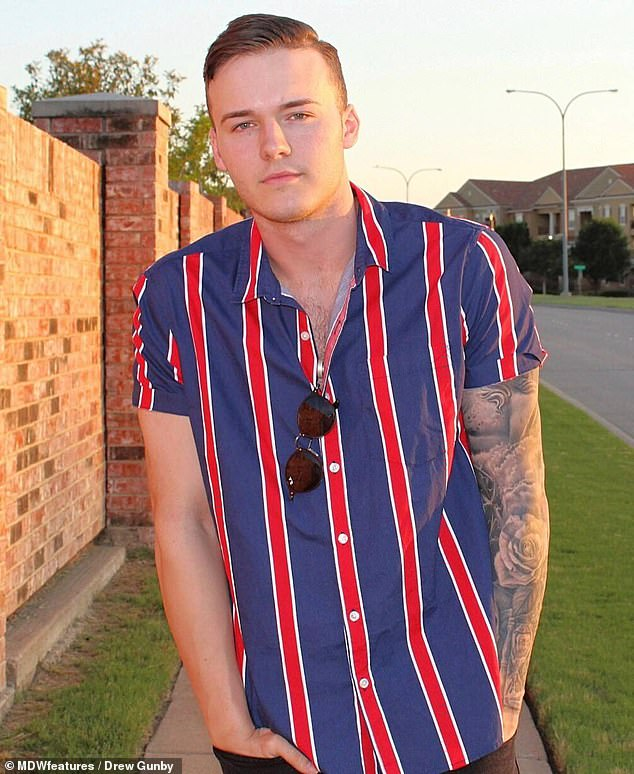 Drew Gunby, 21, from Texas, was 15 years old when he was involved in a car accident that led to a cancerous tumour being found on his brain during routine scans