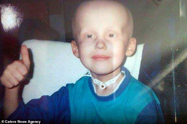 Vanessa's world was turned upside down when her son Tom died of a rare cancer 15 years ago. Pictured: Tom shortly before his death