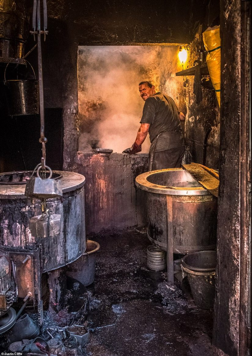 Justin Cliffe's image of local man dyeing wool in a Marrakesh souk came first place in the 'people' category. Describing the 'almost apocalyptic scene' scene, Cliffe said: 'It was dirty, hot and a pungent smell filled the air'