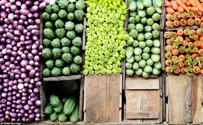 Pablo Borrego took this colourful image while perusing the stalls around Kandy Central Market in Sri Lanka. Describing the scene, the photographer said: 'Everything in a busy market feels magnified - all your senses are pushed to the limit - presenting an abundance of photographic opportunities.' This image was picked as a winner in the 'food' category