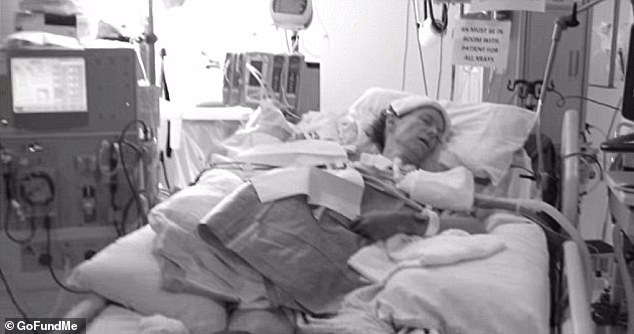 Doctors told Dombo's family that oxygen deprivation to her hands and feet had damaged the tissue and all four limbs would have to be amputated. Pictured: Dombo in a coma