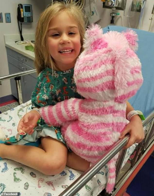 Layla Evetts, six, of Burelson, Texas, was having abnormality in her right eye so her parents took her to an ophthalmologist. But an MRI in February 2018 (pictured) showed she had an inoperable tumor on her brainstem known asDiffuse Intrinsic Pontine Glioma (DIPG)