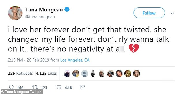 Heartbroken: While Bella's tweets seemed to suggest things ended amicably, Tana took a more somber tone in her messages