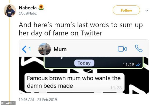 New name: Sarah also seems to be enjoying her viral fame. In the text chain with her children, she called herself the 'famous brown mum who wants the damn beds made'