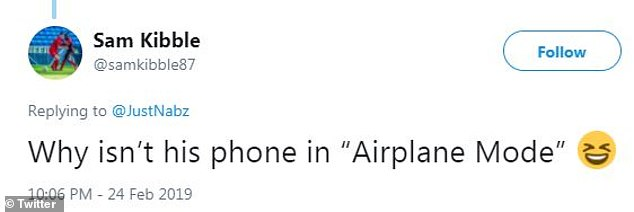 Easy joke: One Twitter user couldn't resist asking why Ismaeel's phone wasn't in 'airplane mode' while he was flying