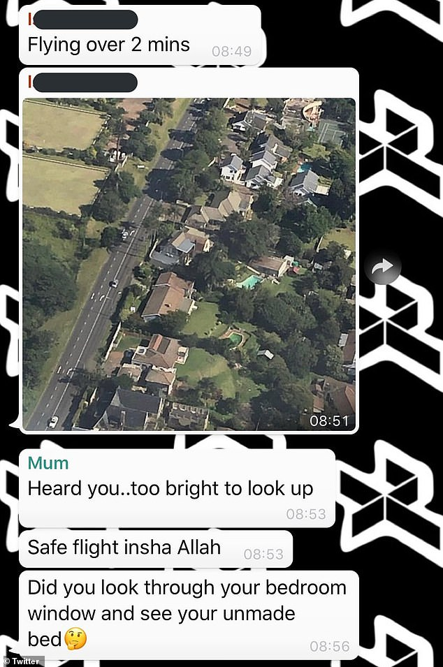 Burn: While enjoying a flight on Sunday, he texted his mother, Sarah, to say he was flying over their home, and she called him out for not making his bed