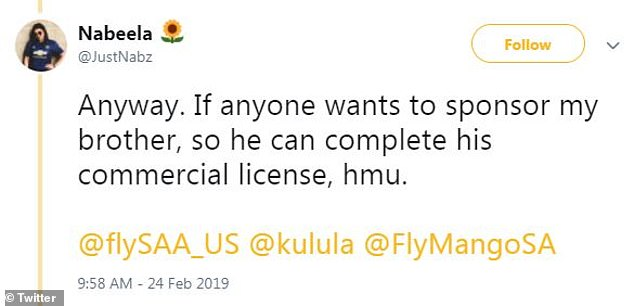 Helping hand:Ismaeel is looking for sponsors to help him afford to complete his commercial license, and his sister tweeted that anyone who is looking to help should hit her up