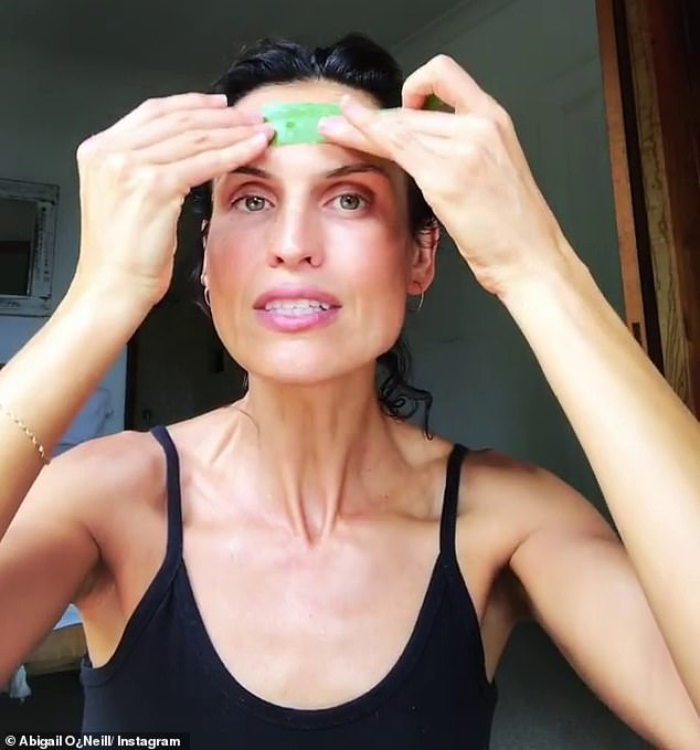 And now, the Byron Bay-based woman has revealed her very surprising beauty secrets behind her good looks - including using the plant aloe as a serum for her complexion (pictured)