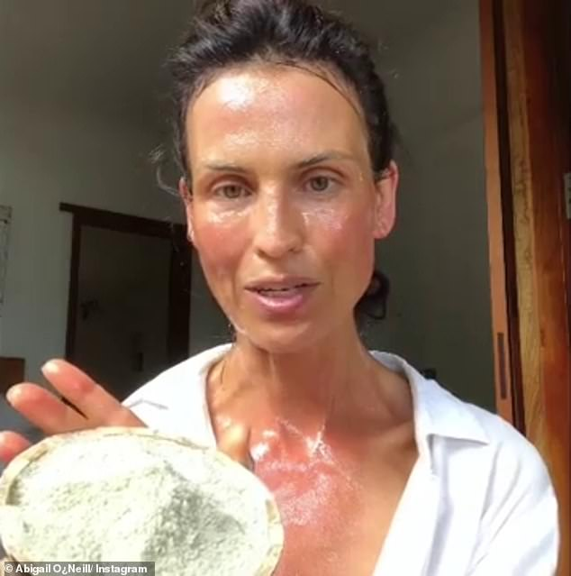 A couple of times a week, Abigail will also exfoliate with raw candied honey, which she rubs into her face, neck and the back of her hands in order to slough away dead skin (pictured)