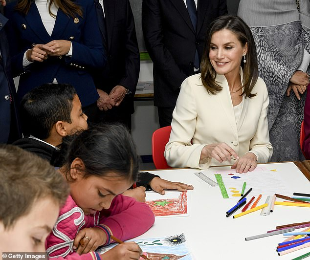 Queen Letizia of Spain visits children at an education centre in Rabat during her royal tour earlier in the month. She accompanied husband King Felipe of Spain on the visit