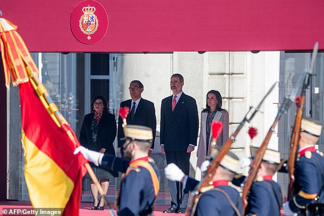 Earlier today the group witnessed a parade by the royal guard, after which the President of Peru inspected the battalion