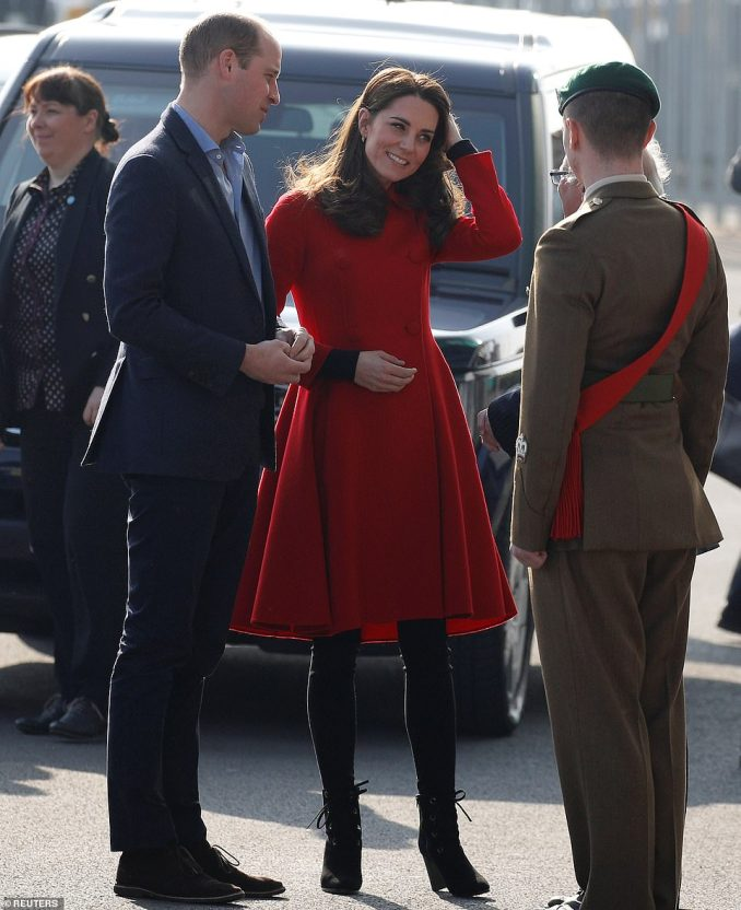 The Duchess of Cambridge donned a£1,200 Carolina Herrera coat andLK Bennett boots for the occasion