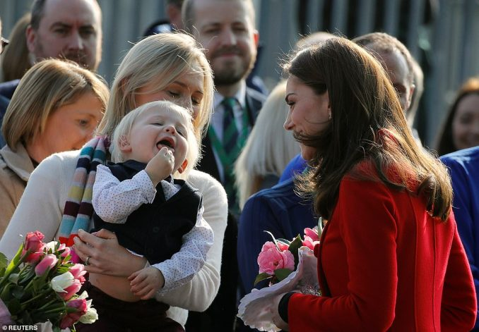 The playful youngster was full of beans and raised a smile from the Duchess of Cambridge at the football stadium