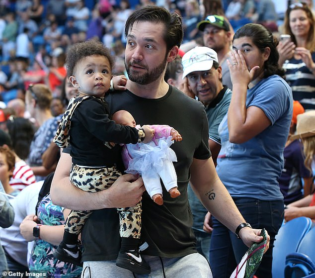 Adorable: The doting dad has made staying home with his daughter a priority since her birth in September 2017. He is also often spotted with her at Serena's tennis matches