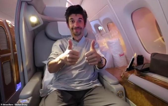 Stefan reveals in his video that other perks of flying first class with Emirates is the amenities bag, which he says is the biggest he has ever seen on an aircraft