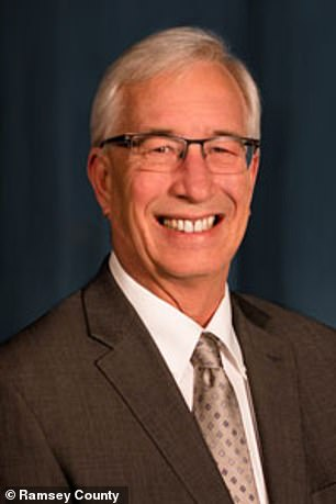 Ramsey County Board Chairman Jim McDonough (pictured) said it was alarming that 'a white officer acting upon a black male with a group of predominantly white officers present'
