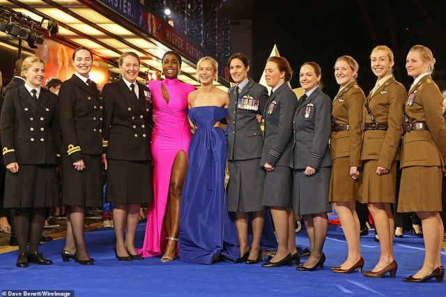 Group shot: Lashana and Brie posed along with the women from the UK Armed Forces