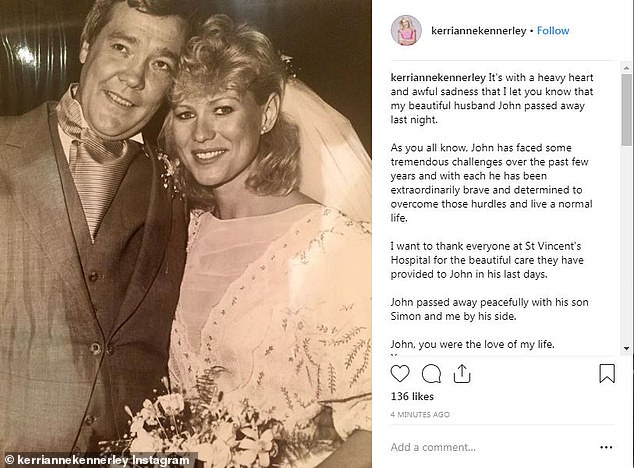 'Sending all my love':Celebrities flocked to offer their condolences to Kerri-Anne Kennerley, 65, on Thursday after she announced that her husband John died on Wednesday night, aged 78
