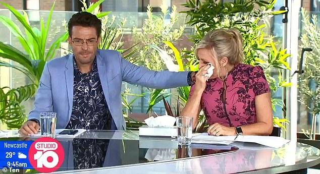 'She is going through the worst time of her life!' On Thursday, Kerri-Anne Kennerley's Studio 10 co-hosts paid tearful tribute to the star's late husband John. Pictured: Joe Hilderbrand and Angela Bishop