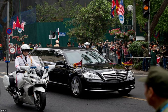 The motorcade of Jong Un is driven in Hanoi, Vietnam, on Thursday, ahead of the second summit