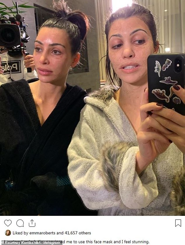 'I feel stunning': Kim Kardashian and Kourtney Kardashian were unrecognizable in face masks, heightening the effect by pulling faces for a selfie Kourtney posted to Instagram Wednesday