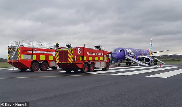 Five crew members and 100 passengers were evacuated from the Flybe plane at Exeter today