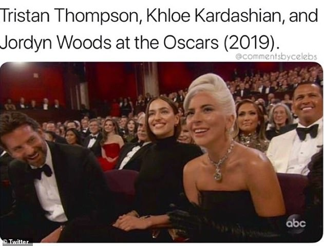 Shocking: 'Tristan Thompson, Khloe Kardashian, and Jordyn Woods at the Oscars,' they captioned the shot, referring to this week's revelation that Kylie Jenner's BFF had been caught making out with the NBA boyfriend of her big sister