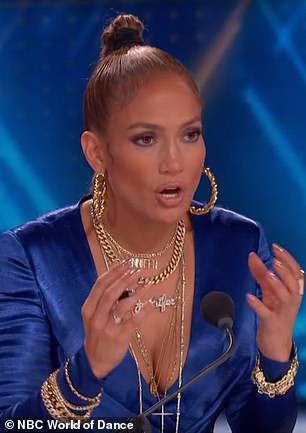 Impressed: When the dance routine was finished, J-Lo praised Ellie and Ava for performing their moves in sync