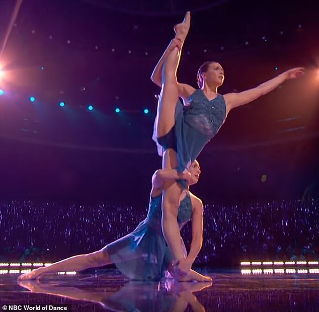 Stunning: The duo's one-minute long dance routine left the audience and judges impressed, as they gave the sisters a round of applause when the dance came to an end