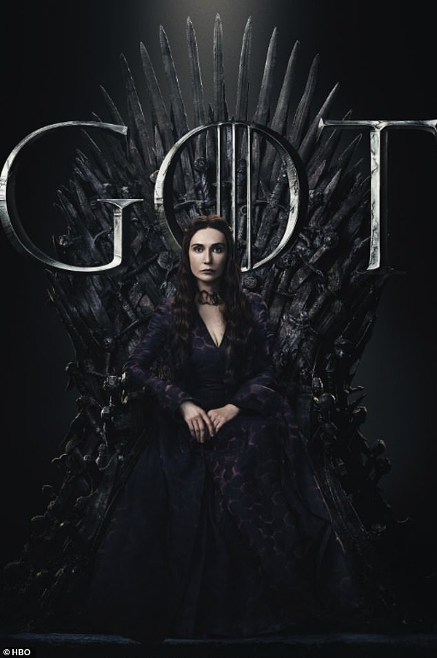 Eye-opening: Game of Thrones posters capturing 20 of the characters sat on the Iron Throne have been released ahead of upcoming season eight (Melisandre)